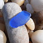 Blue Sea Glass Poster