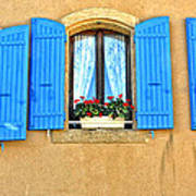 Blue Shutters In Provence Poster