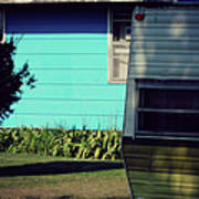 Blue Siding And Camper Poster