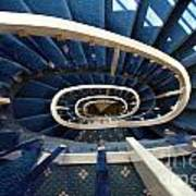 Blue Spiral Stairsway Poster