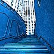 Blue Stairs Poster