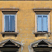 Blue Windows On A Yellow Wall In Milan Poster