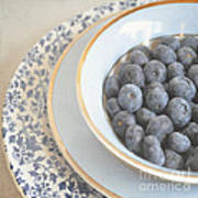 Blueberries In Blue And White China Bowl Poster