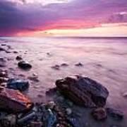 Bluffs Beach Sunset 2 Poster