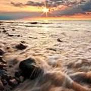 Bluffs Beach Sunset 3 Poster
