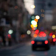 Blurred Traffic Jam Poster