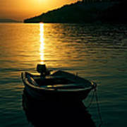 Boat And Sunset Poster
