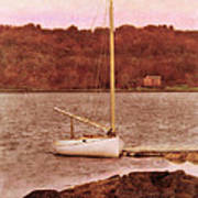 Boat Docked On The River Poster