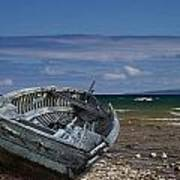 Boat Lying Shipwrecked On A Lake Michigan Shore Poster