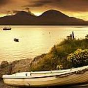 Boat On The Shore At Sunset, Island Of Poster