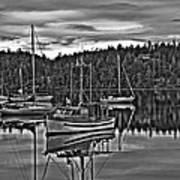 Boating Reflections Mono Poster