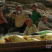 Boatmen In Laos Poster