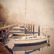 Boats In Foggy Harbor Poster