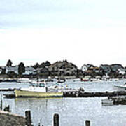 Boats In Harbor Water Poster