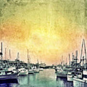 Boats In The Harbor Poster