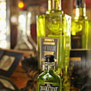 Bottles With Absinthe In Bar Poster