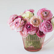 Bouquet Of  Pink Ranunculus Poster by Elin Enger