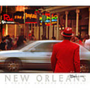 Bourbon Street Man In Red Suit Poster
