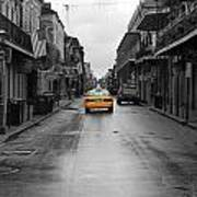 Bourbon Street Taxi Cab French Quarter New Orleans Color Splash Black And White Poster
