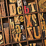 Box Of Old Wooden Type Setting Blocks Poster