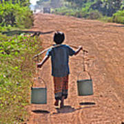 Boy Carrying Drinking Water Poster