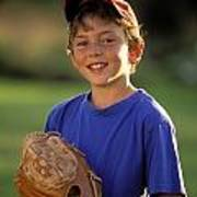 Boy With Baseball Glove Poster