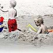 Boys Will Be Boys At The Beach Nj Poster by Gwenn Dunlap