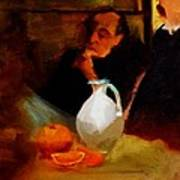 Breaktime With Oranges And Milk Jug Man Deep In Philosophical Thought With Mysterious Boy Servant Poster by M Zimmerman MendyZ