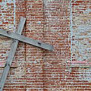 Brick Wall Cross Poster