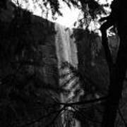 Bridalveil In Background Black And White Poster