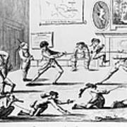 British Officers: Cartoon. English Cartoon Satire, 1777, On The Want Of Training Of British Officers To Prepare Them For The American War Poster