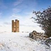 Broadway Tower In Winter Snow Poster