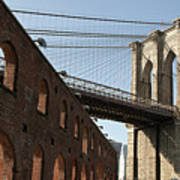 Brooklyn Bridge & Empire Fulton Ferry State Park Poster by Just One Film
