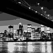 Brooklyn Bridge @ Night Bw8 Poster