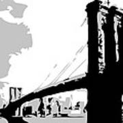 Brooklyn Bridge Bw Poster