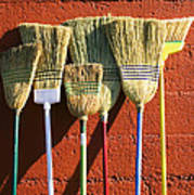 Brooms Leaning Against Wall Poster