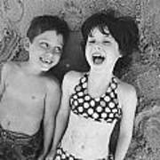 Brother And Sister On Beach Poster