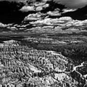 Bryce Canyon Ampitheater - Black And White Poster