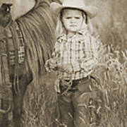 Buckaroo Cowgirl And Horse Poster by Cindy Singleton