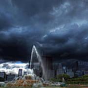 Buckingham Fountain Storm Poster