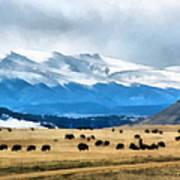 Buffalo Herd Painterly Poster