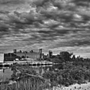 Buffalo Mills Under Clouds Poster
