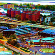 Buffalo New York Aerial View Neon Effect Poster