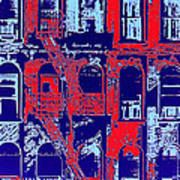 Building Facade In Blue And Red Poster