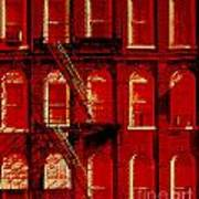 Building Facade In Red And White Poster