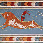 Bull-leaping Fresco From Minoan Culture Poster