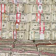 Bundles Of Five Dollar Bills Poster by Adam Crowley
