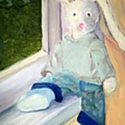 Bunny On Window Ledge Poster