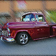 Burgundy Hot Rod Pick Up Abstract Poster