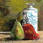 Burnished Pears With Vase Poster